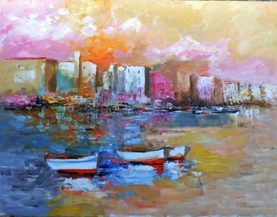 TABLEAU PEINTURE mer barque voiliiers plage Marine Peinture a l'huile  - rose violet