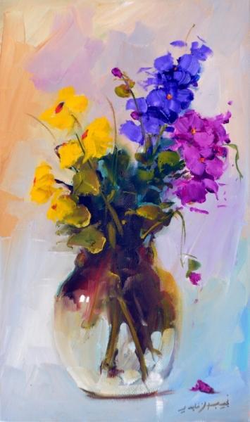 TABLEAU PEINTURE fleurs vase violet jasmin Fleurs  - vase2440