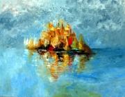 painting marine bleu mer voilier bateaux couleurs lum : claire de lune