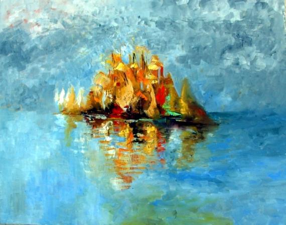 TABLEAU PEINTURE bleu mer voilier bateaux couleurs lum Marine  - claire de lune