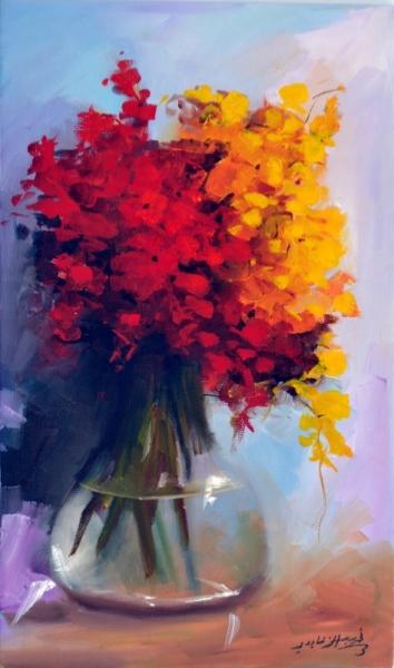 TABLEAU PEINTURE fleur rose vase bouquet Fleurs  - 2440rouge