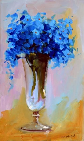 TABLEAU PEINTURE fleurs roses vase bleu Fleurs  - 2440
