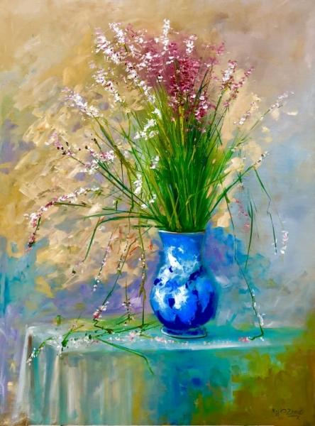 TABLEAU PEINTURE roses fleurs vase naturemorte Fleurs Peinture a l'huile  - le bouquet NZ10