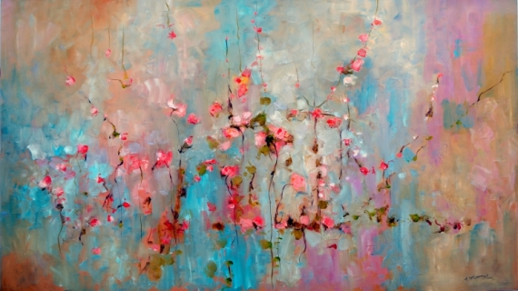 TABLEAU PEINTURE fleur roses tiges verdure Fleurs  - ABSTRAIT 1234