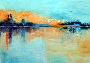 tableau marine mer bateau soleil lac : LAUBE