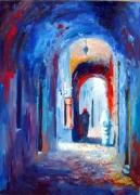 tableau villes lumiere art contemporain art moderne bleu rou : lumière de la medina