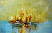 tableau marine marine bateaux mer barque jaune bleu ma : arc en ciel