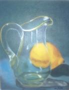 tableau nature morte pichet citron transparence nature morte : Au travers du cristal
