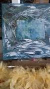 tableau abstrait ocean nuage bleu mer : début