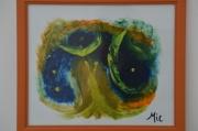 tableau abstrait peinture abstraite ambiance coloree original signe ciel univers paralle : ciel profond