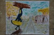 tableau personnages peinture figurative comtemporaine ,a them camp refugies tableau signe : camp