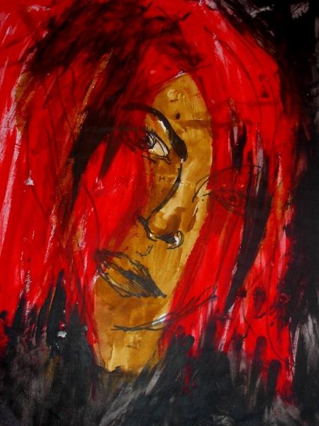 TABLEAU PEINTURE femme rouge pop Personnages Acrylique  - femme rouge