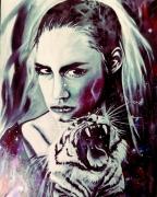 tableau autres tigre portrait espace etoiles : Black feeling