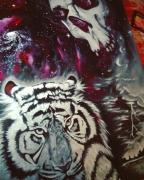 tableau scene de genre tigre crane espace etoiles : Wild one