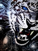 tableau animaux animaux leopard espace etoiles : Galaxeyes