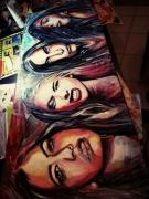 tableau personnages portrait couleur femme woman : Four horsewomen