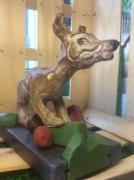 sculpture animaux chienne de garde lego loufoque multicolore engobee ciree : Chienne de garde