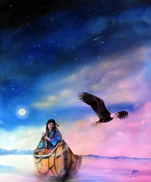 TABLEAU PEINTURE natif lakota Personnages Peinture a l'huile  - Aigle Noir