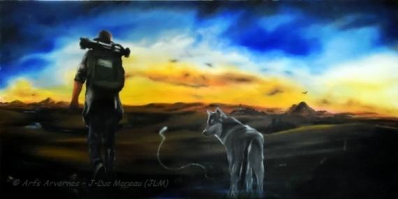 TABLEAU PEINTURE loup montagne mystique féerique Scène de genre  - Anautita Tèrra