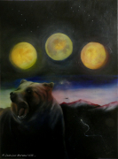 tableau animaux ours lune : Ours 3 Lunes