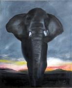 tableau animaux elephant : Crowned Elephant