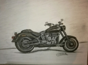 tableau scene de genre moto harley pastel fusain : Harley