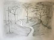 tableau paysages foret brume fusain graphite : La foret