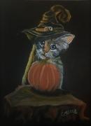 tableau scene de genre chaton citrouille pastel fantaisie : le chat citrouille