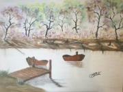 tableau paysages barque foret paysage pastel : Les barques