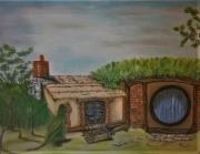 tableau architecture maison pastel hobbit fantaisie : La maison