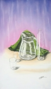 tableau nature morte pastel verre transparence : Transparence