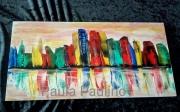 tableau abstrait ville bleu rouge : 076- City of Joy