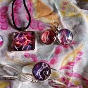 bijoux abstrait set de bijoux blanc : set bijoux/violet/blanc