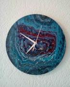 artisanat dart abstrait horloge bleu argent : 055- The Dreamer