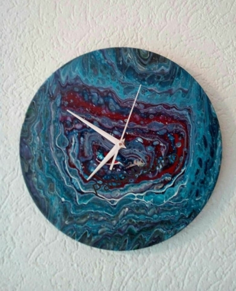 ARTISANAT D'ART horloge bleu argent Abstrait  - 055- The Dreamer