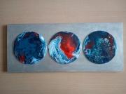 mixte abstrait rouge argent bleu : 050/ Blue moon