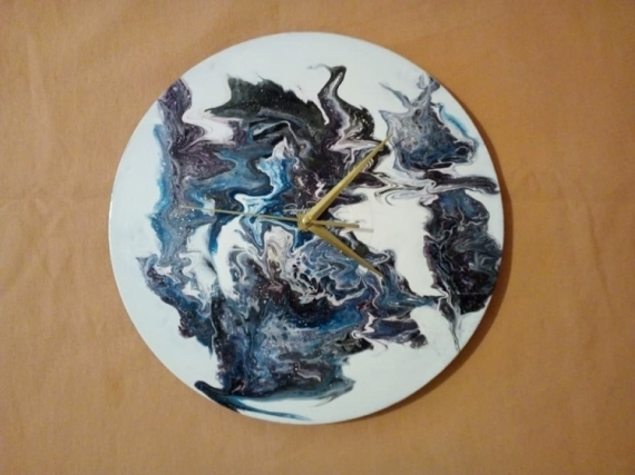 ARTISANAT D'ART horloge gris violet Abstrait  - 065- Be free from the Darkness