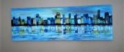 tableau abstrait ville eau bleu : 112/ Carribbean City