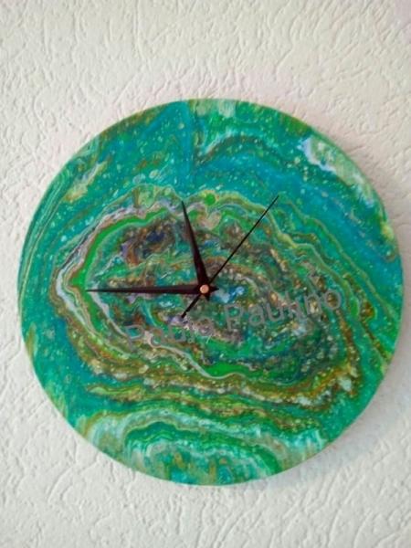 ARTISANAT D'ART horloge vert aqua Abstrait  - 030 Aqua Clock