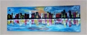 tableau abstrait ville eau : 113/ City by the sea