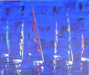 tableau abstrait semi abstrait voilier bateau marine : nocturne 050620