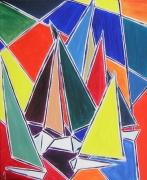 tableau marine semi abstrait bateau marine voilier : MARINE ARLEQUIN