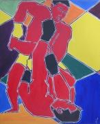 tableau sport semi abstrait boxe boxeurs full contact : ARLEQUIN FULL CONTACT