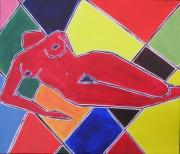 tableau nus semi abstrait nu femme nue tableau peinture : NU ARLEQUIN