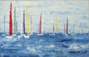 tableau marine semi abstrait voilier bateau regate : régate 130620