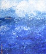 tableau marine semi abstrait voilier bateau bleu blanc : voilier dans la brume