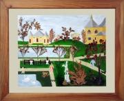 tableau paysages lac paysage jardin public naif : Le lac