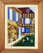 tableau paysages maison fillettes soleil volets bleus : les volets bleus