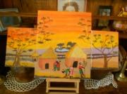 tableau scene de genre village afrique elephant : village africain
