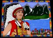 tableau personnages indiens des etasunis paysages des rocheuses : ( An.2010 )l'indien   Vendu une copie différente sur demand